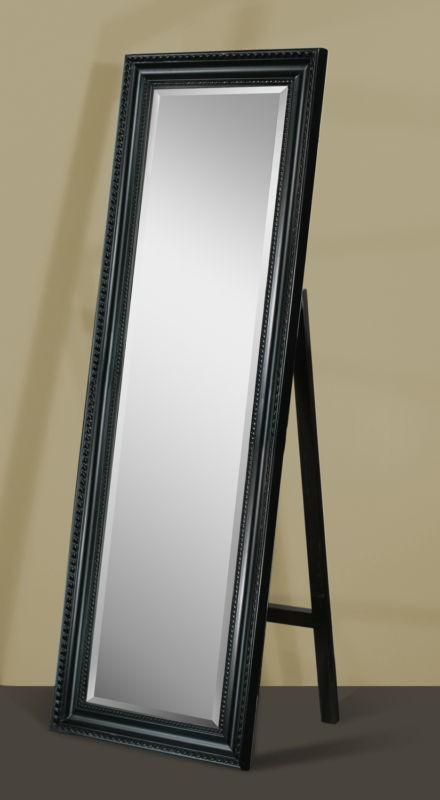 Carousel Black Framed Full Length Beveled Floor Mirror with Stand