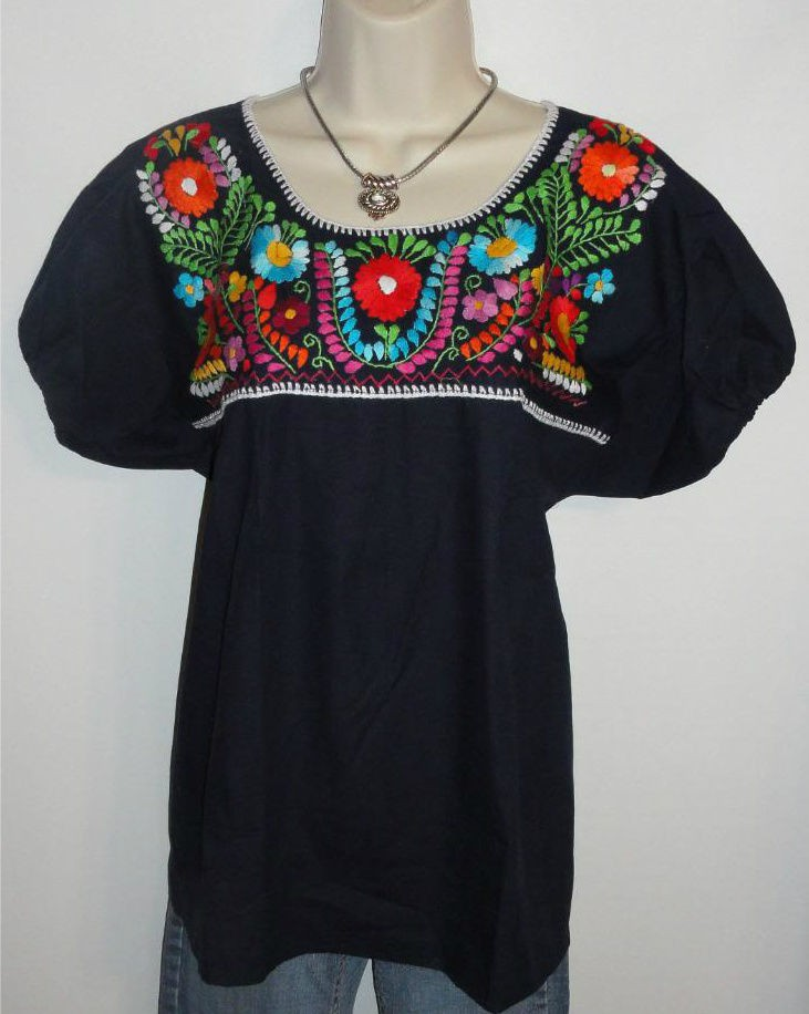 a51852a2ad67aa BLACK PEASANT PUEBLA HAND EMBROIDERED MEXICAN BLOUSE TOP VINTAGE STYLE