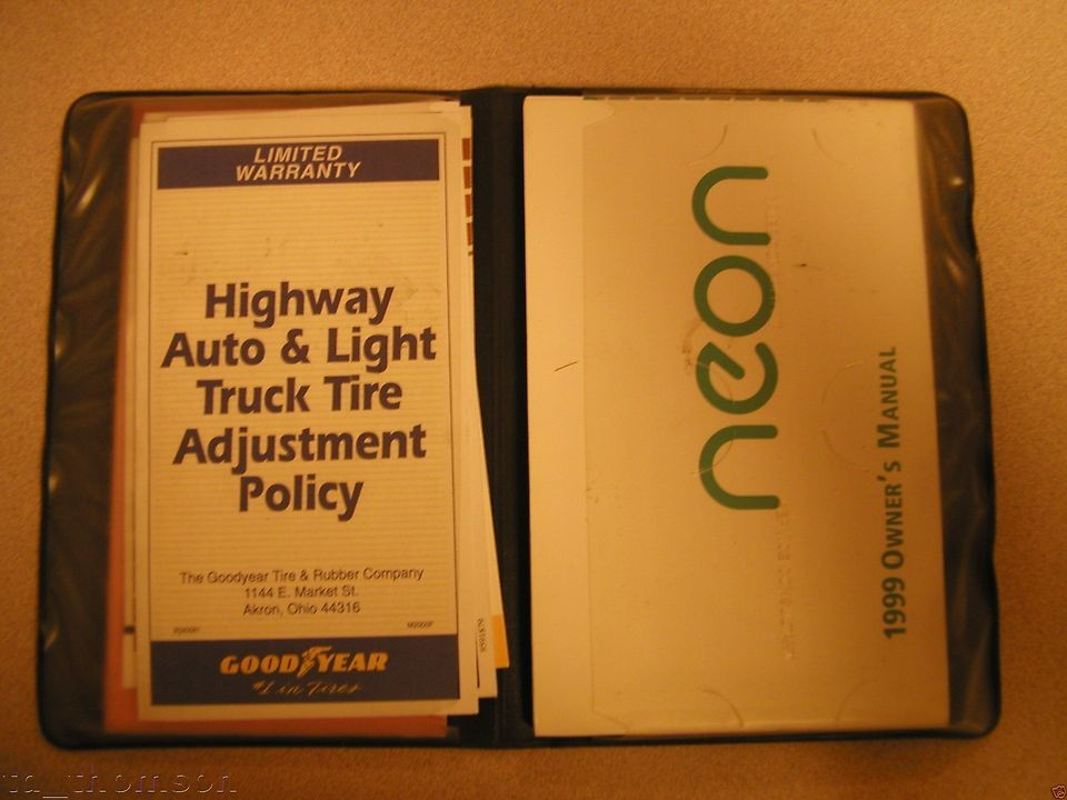 CHRYSLER/DODGE/JEEP 1999 Neon Owners Manual