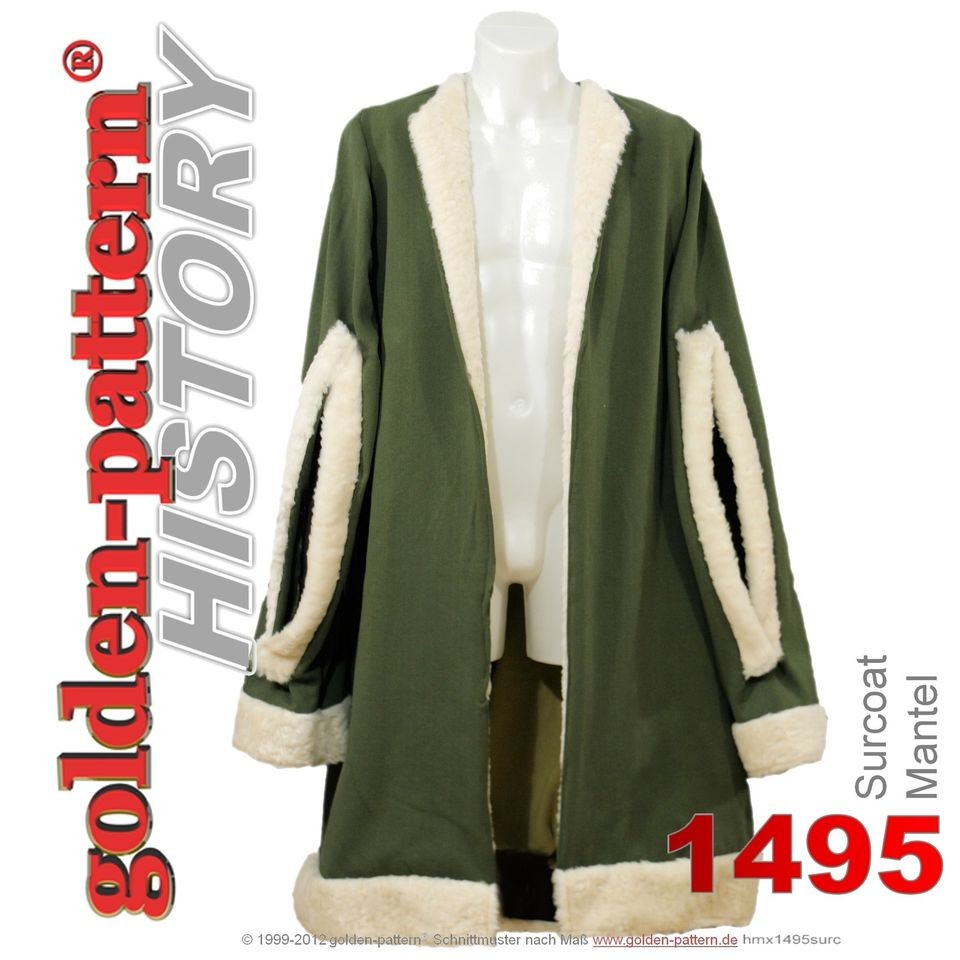 sewing pattern MEDIEVAL SURCOAT / CLOAK (ca  1495) Men Boys sizes