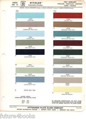 Models PPG Ditzler Paint Color Chip Card Body Paint Car Colors