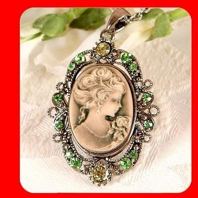 Olive Vintage ST CAMEO Fashion Lady Jewelry Antique Gold GP necklace
