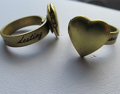 Our Fate is Our Destiny Heart Locket Rings Adjustable Best Friends