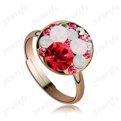 18K Rose Gold GP Colorful Swarovski Crystal Mickey Mouse Lovely Ring