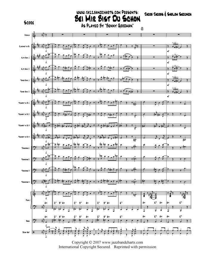 Du Schon   Big Band Jazz Vocal Chart   Benny Goodman   Score+Parts