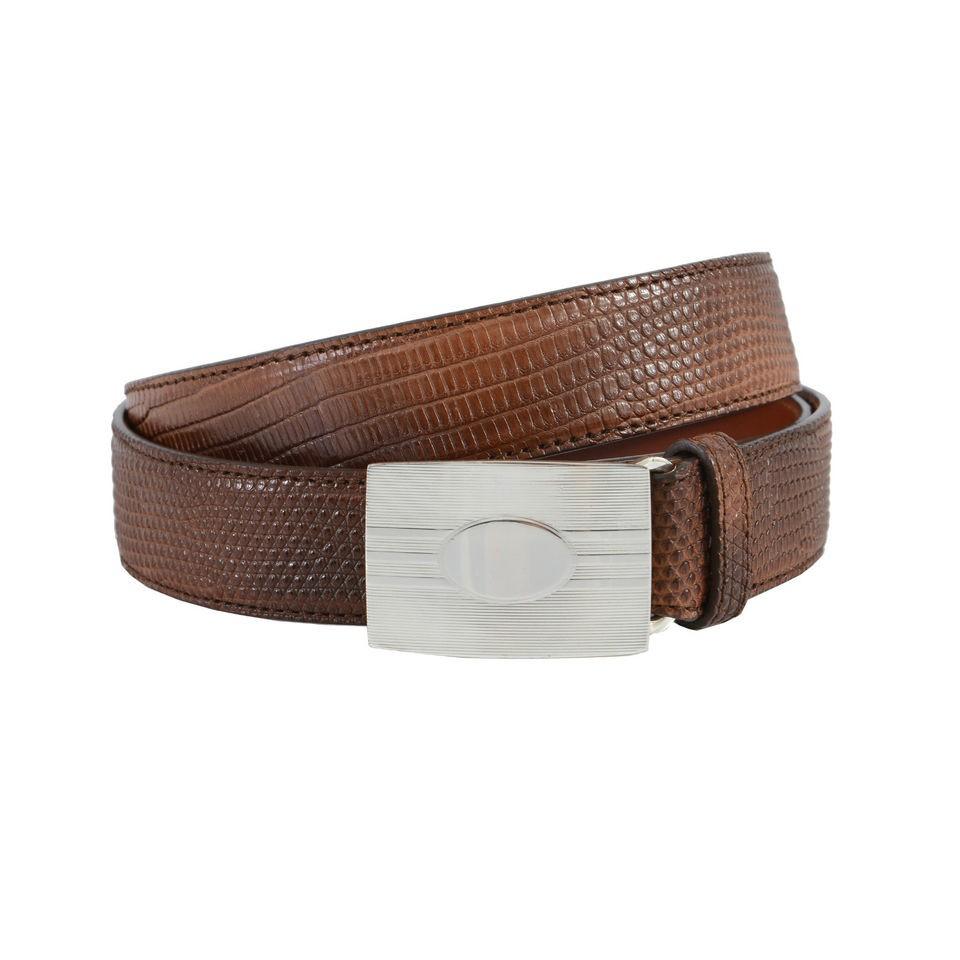 Brunello Cucinelli Brown Snake Skin Sterling Silver Buckle Belt US 35