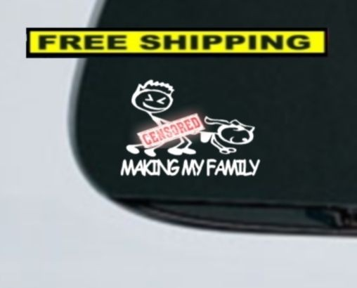 Making My Family Decal Stick Figure Family Car Funny Parody Window