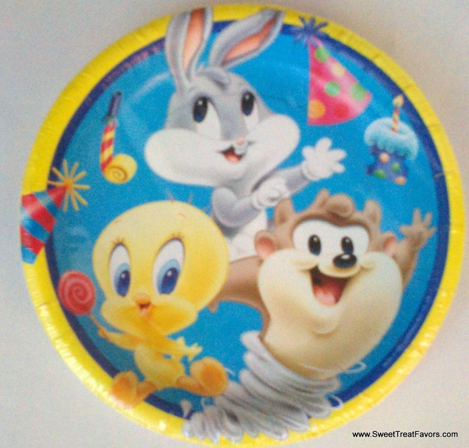 Baby looney tunes cake plates x12 decoration party tweety for Baby looney tune decoration