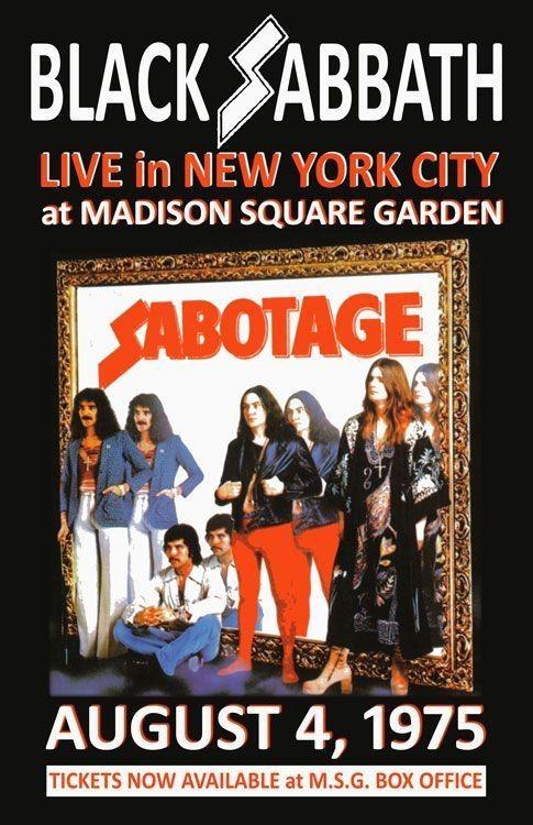 BLACK SABBATH REPLICA *MADISON SQUARE GARDEN* 1975 CONCERT POSTER