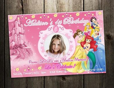 DISNEY PRINCESS BIRTHDAY PARTY INVITATION TICKET CARD CUSTOM INVITES