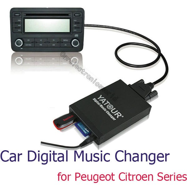 RD4 Car Digital CD Changer USB AUX SD Adapter  Player for Peugeot