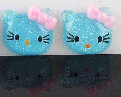 Glitter Hello Kitty Cats Craft Flat Back Scrapbook/Cabochon/Buttons