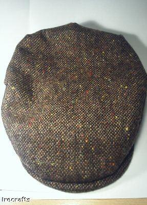 Traditional Irish Brown Tweed Wool Flat Cap Hat Ireland sz S M L
