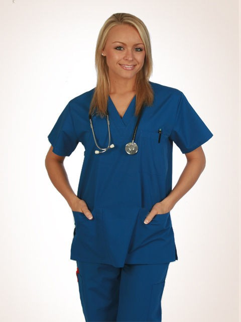 nursing medical unisex scrubs uniforms drawstring elastic 8 pocket