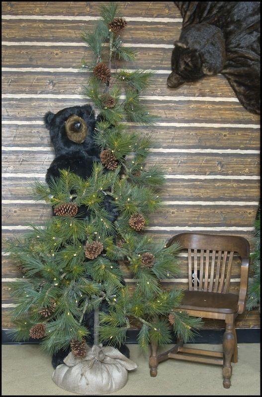 72 Ditz Pre Lit Christmas Tree Rustic Pine Cone Black Bear