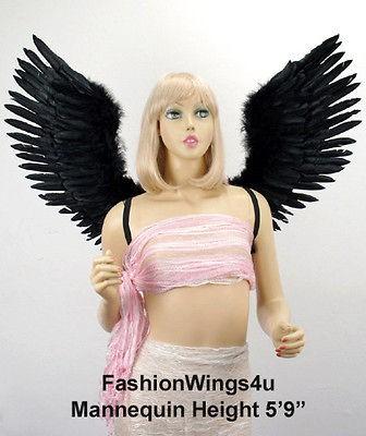 Large Open Swing V Shape Black Feather Angel Wings Goth Demon Birds