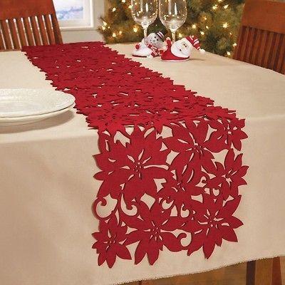Red Felt Die Cut Poinsettia Table Runner Christmas In Home Decor New