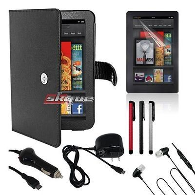 Accessory For  Kindle Fire Leather Case Car Wall Charger Film