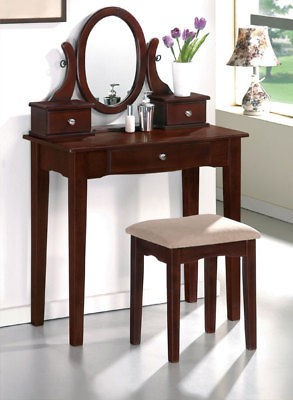 FREE SHIP**CHERRY FINISH SOLID WOOD VANITY TABLE BENCH MIRROR SET