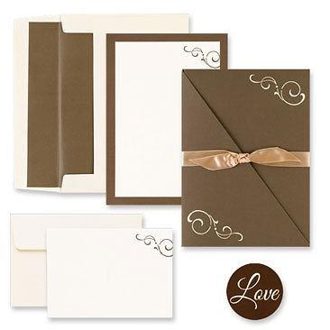 100 Brown Swirl Folder Diy Wedding Invitation Kit Ivory Mocha Western