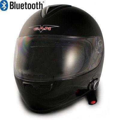 V136 GLOSSY BLACK FULL FACE BLUETOOTH MOTORCYCLE HELMET 2 SPEAKERS DOT