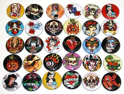 RETRO TATTOO BADGES x 30 Buttons Wholesale Bulk Lot