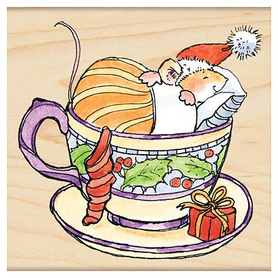 PENNY BLACK RUBBER STAMPS CHRISTMAS IN A CUP MOUSE SLEEP IN CUP NEW