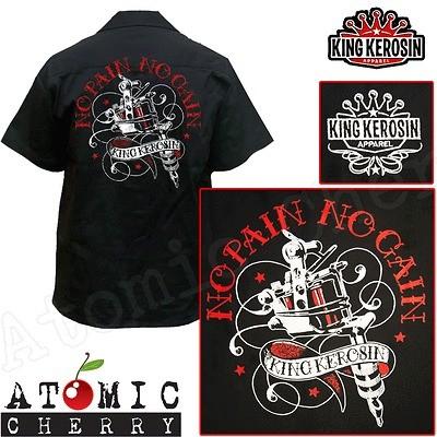 King Kerosin No Pain No Gain Work Shirt Rockabilly Punk New Cool
