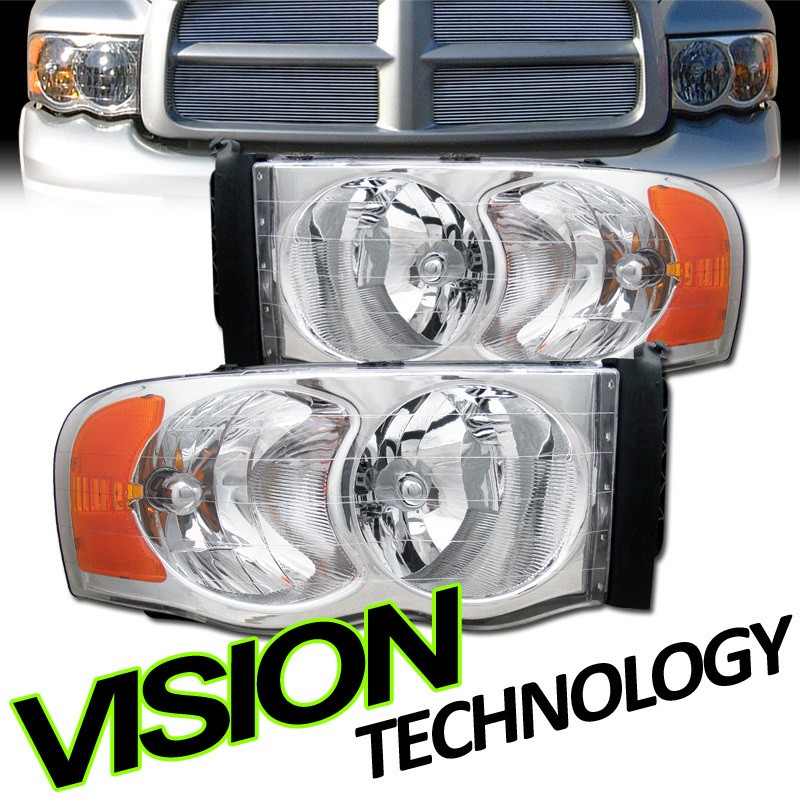 02 05 Dodge Ram Pickup Truck Chrome Housing Clear Lens Headlights+Amb