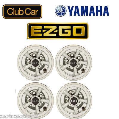 EZGO, Club Car, Yamaha Golf Cart 8 CHROME SS Hub Caps (4)