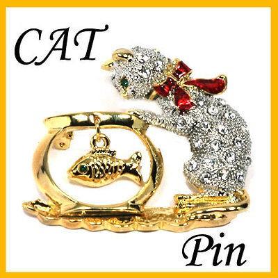 Sparkling Crystals Kitty Cat & Fish Pin Brooch