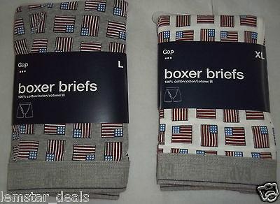 Gap Mens Boxer Briefs Underwear American Flag Design Grey or White NWT