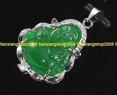 green jade happy Buddha 18K white gold Plated pendant + free chain