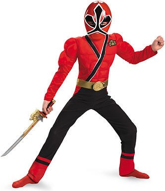 boys red ranger samurai muscle halloween costume