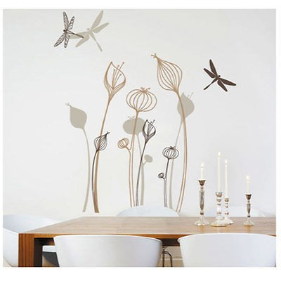 Flower Dragonfly Removable Wall Stickers Decor Home Paper Sticker DIY