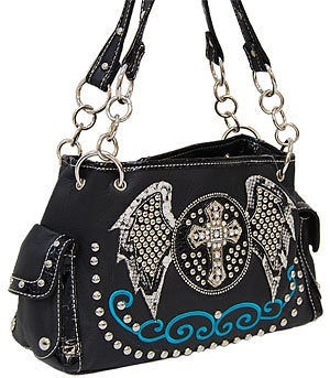 COWGIRL BLACK BLING RHINESTONE CROSS ANGEL WING PURSE HANDBAG #J1013E