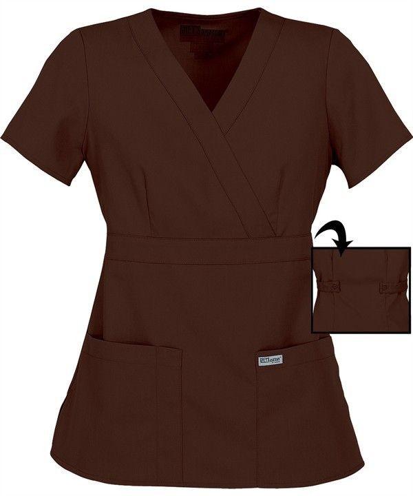 Scrubs Greys Anatomy Jr. Fit Mock Wrap Top 4153 Truffle Buy 3 Ship