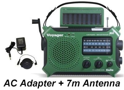 Kaito Voyager Wind Up Emergency Radio Complete Kit KA500GRN + Antenna