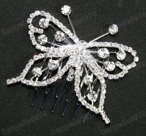 BUTTERFLY rhinestone CRYSTAL HAIR COMB silver slide/pin BRIDAL