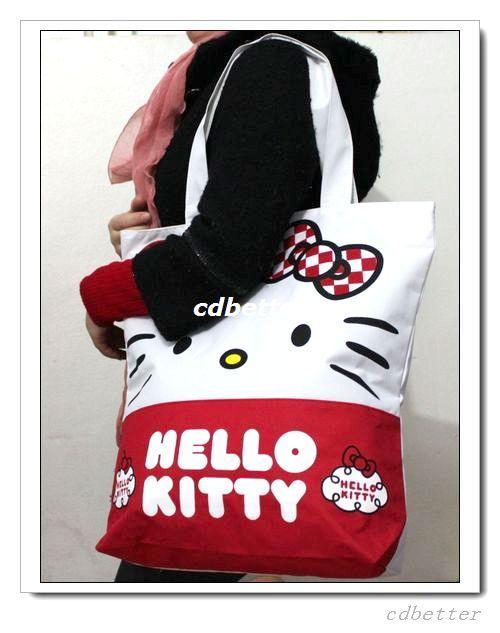 Women Girls Cute Hello Kitty Large Canvas Shopping Tote Bag Handbag