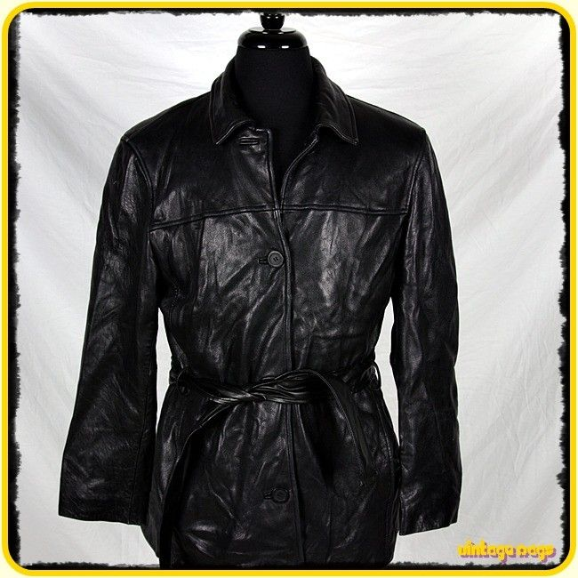 Adler Lambskin Leather Button Up Coat Jacket Womens Size L Large Black