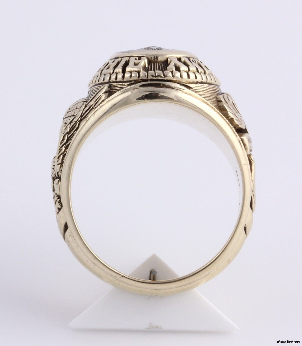 Army Airborne .10ct Diamond Class Style Ring 10k Gold Solid Back