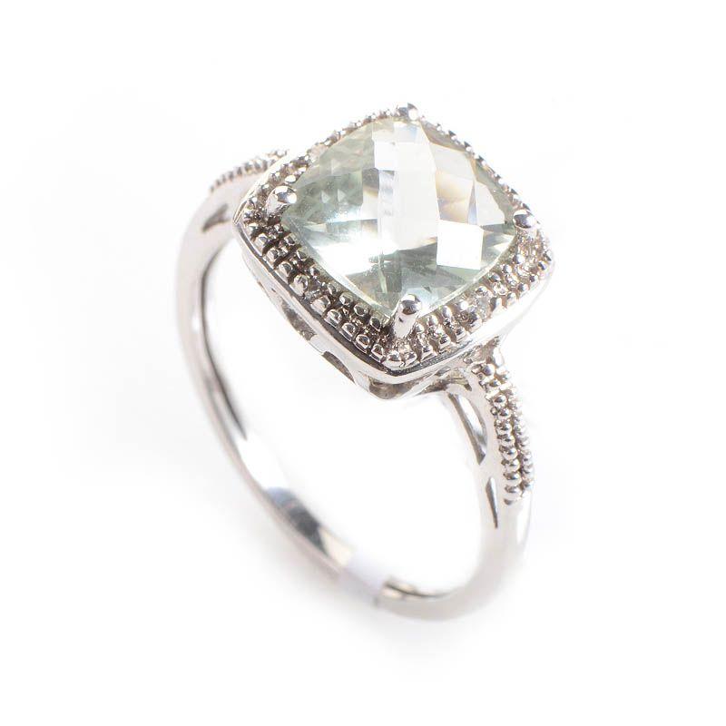 10K White Gold Diamonds Green Amethyst Ring