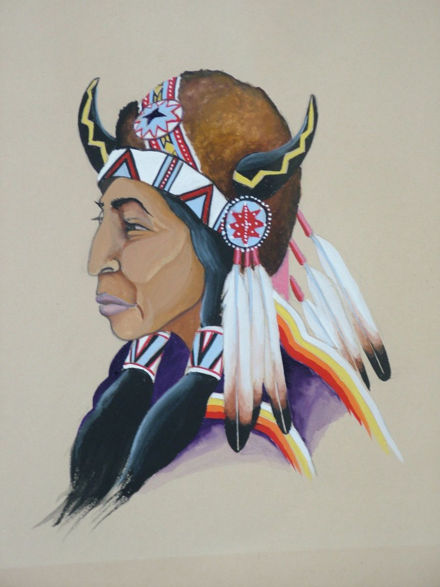 American Indian Warrior original gouache painting signed WALT HARRIS