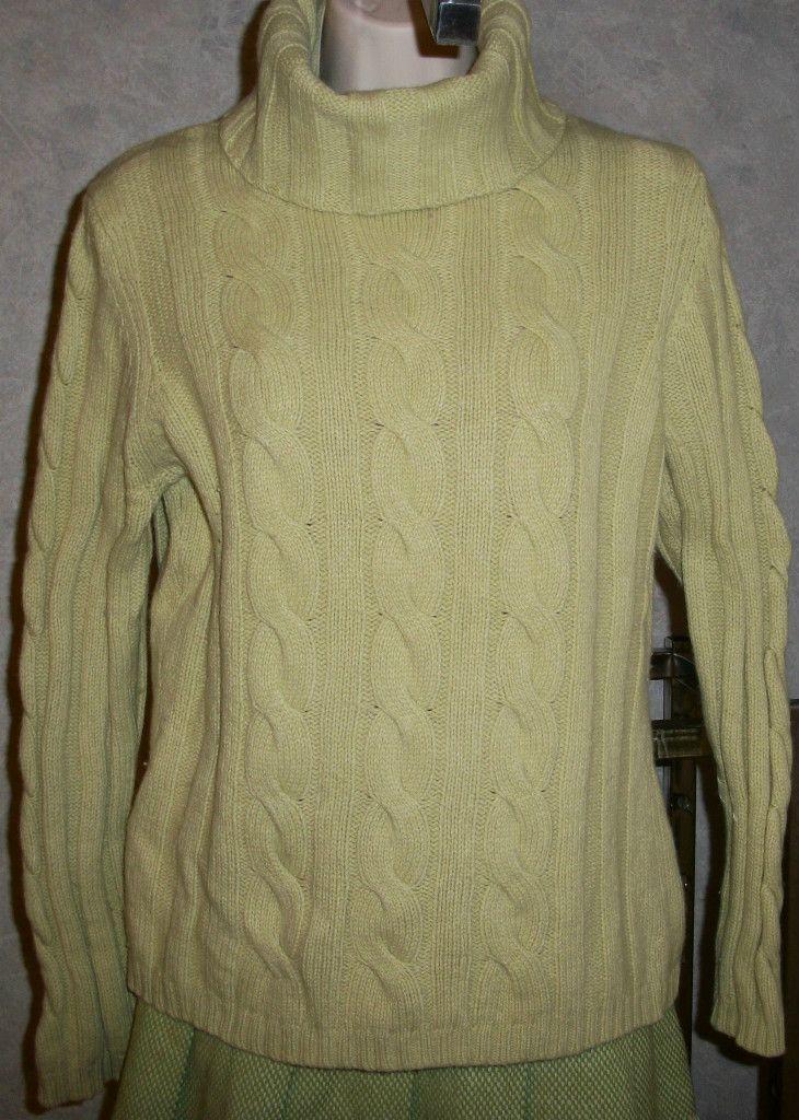 Turtleneck SWEATER CASHMERE Angora Wool Lime Green ANN TAYLOR LOFT L