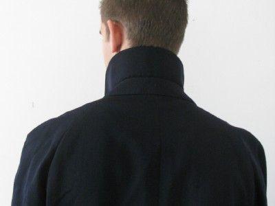AQUASCUTUM London Mans Blue Virgin Wool Trench Mac Over Coat Jacket 46