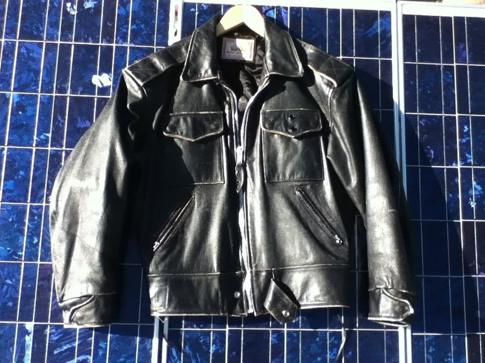 Lee Trevor Black Leather Motorcycle Jacket Horsehide Quilted Lining
