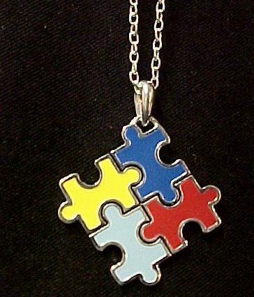 autism asperger color puzzle piece necklace