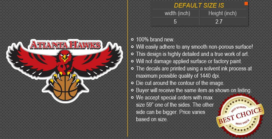 Atlanta Hawks NBA Basketball Logos Car Bumper Window Wall Sticker