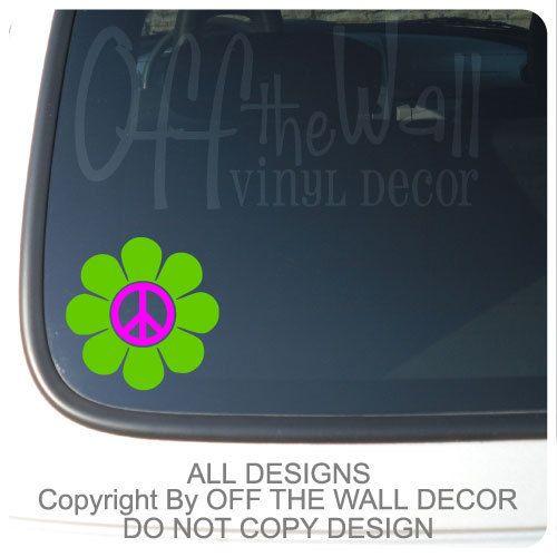 Retro Peace Daisy Flower Vinyl Car Decal Sticker